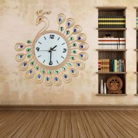 Large Peacock Wall Clock Decor Art Modern Living Room Gold ...