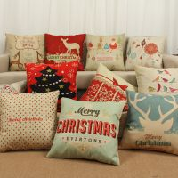 Cotton Linen Christmas Deer Pillow Case Cushion Cover Sofa