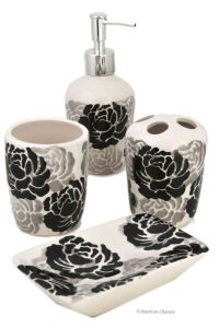 Set 4 Piece Black/Grey/White Floral Ceramic Bathroom