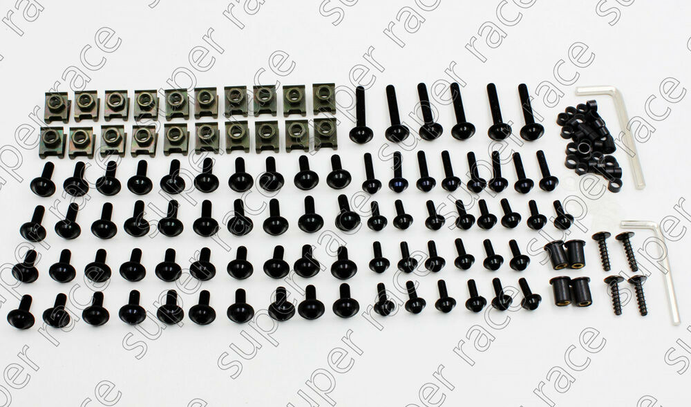 New Black MOTORCYCLE FAIRING BOLTS KIT CLIPS SCREW For