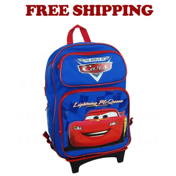 Lightning Mcqueen Cars School Large Rolling Blue Backpack Bag Kids Boys Girls
