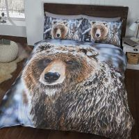 BIG BEAR SINGLE DUVET COVER AND PILLOWCASE SET NEW