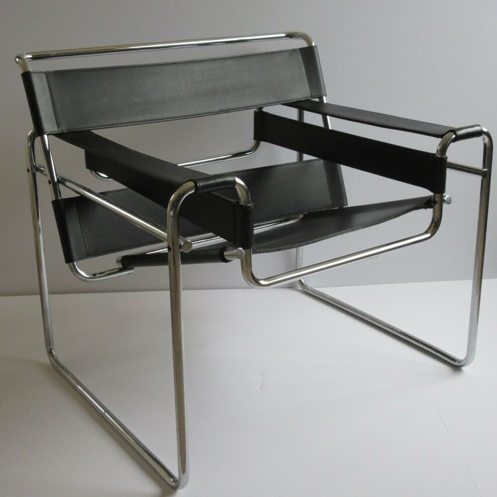 VINTAGE KNOLL WASSILY CHAIR LEATHER CHROME MARCEL BREUER