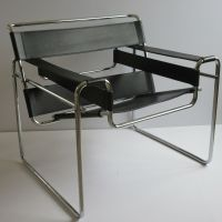 VINTAGE KNOLL WASSILY CHAIR LEATHER CHROME MARCEL BREUER ...