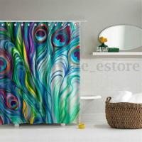 Peacock Feather Waterproof Polyester Fabric Shower Curtain ...