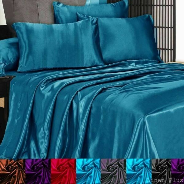 3 Pc Satin Silky Sheet Set Queen King Size Fitted Pillows 500tc 10 Colors
