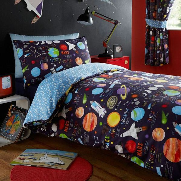 Kids Club Space Ship Planets Solar System Duvet Cover Bedding Sets Curtains