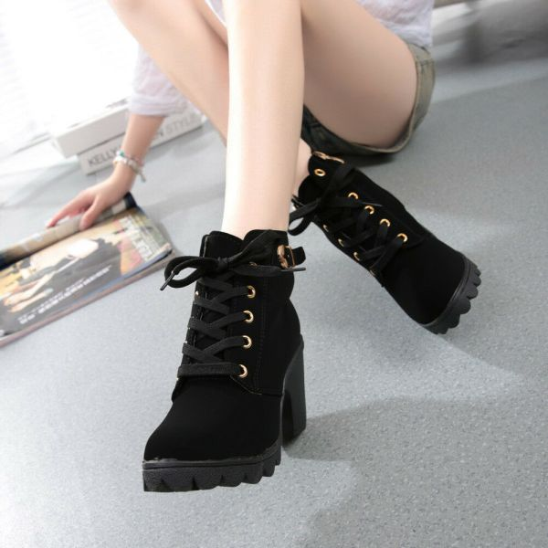 High Heels Lace Up Ankle Boots Women