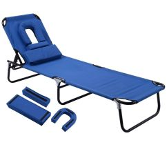 Folding Outdoor Camping Chairs Slipcovers For Bar Sun Chaise Lounge Recliner Patio Bed Beach Pool Chair Fold Blue 691163590745 | Ebay