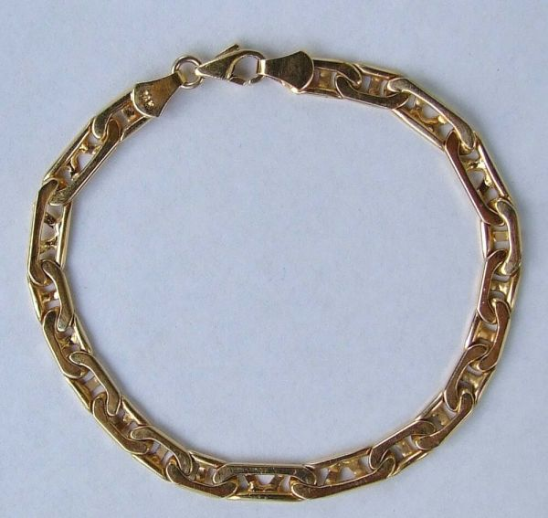Men' Mariner Anchor Heavy & Large Link Chain Bracelet - 14k Yellow Gold 8