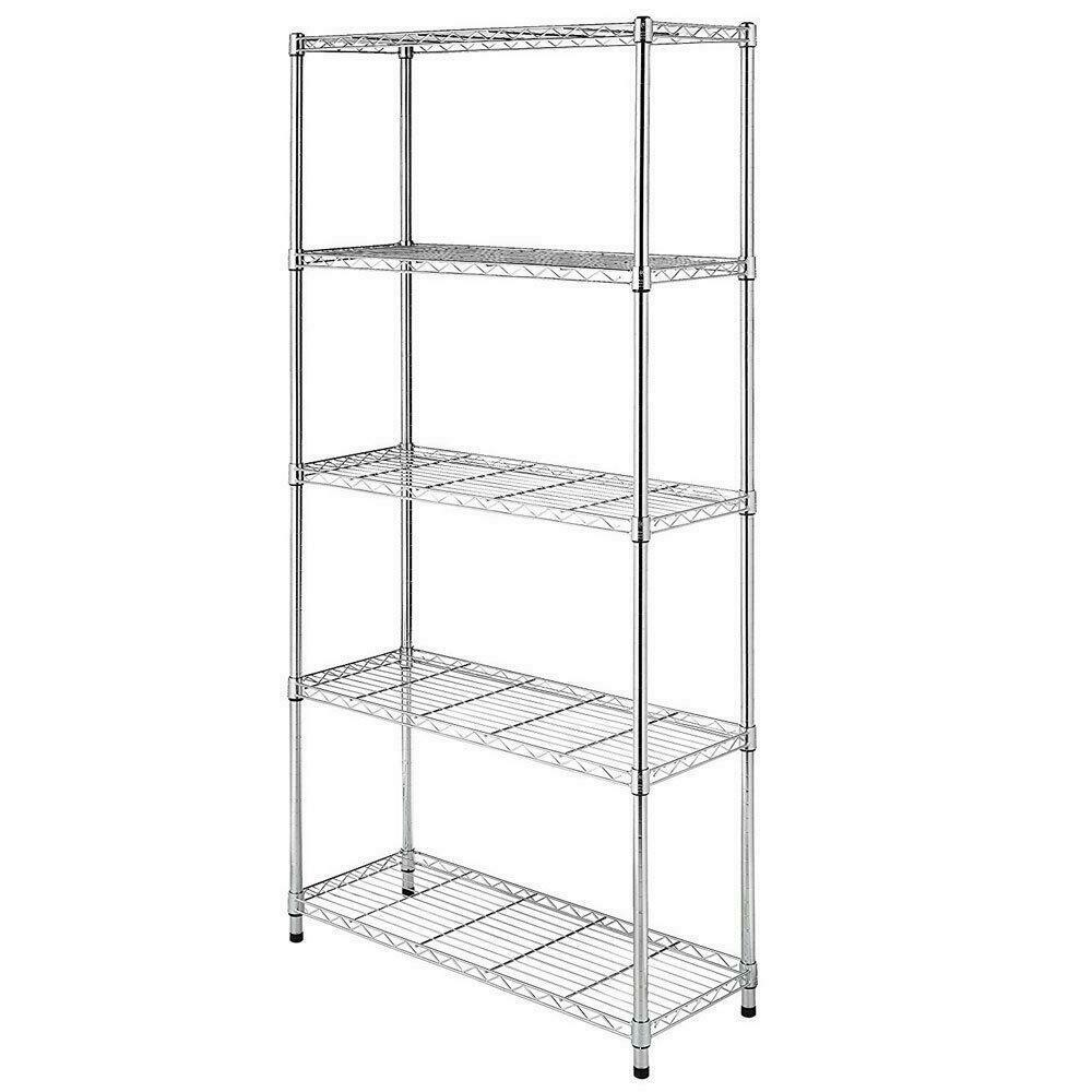 Chrome/Black 5-Shelf Steel Wire Tier Layer Shelving