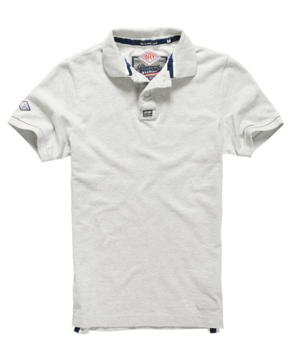 New Mens Superdry Classic Pique Polo Shirt Ice Marl eBay