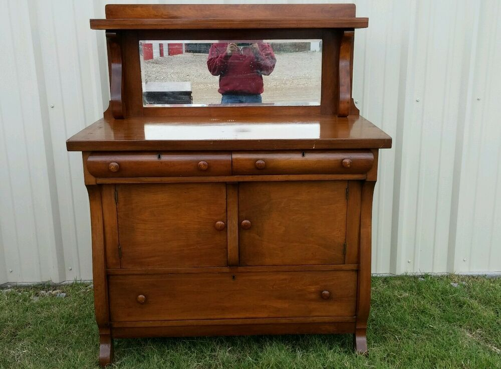 ANTIQUE E DEC 1915 Sideboard Buffet Server WITH BACK