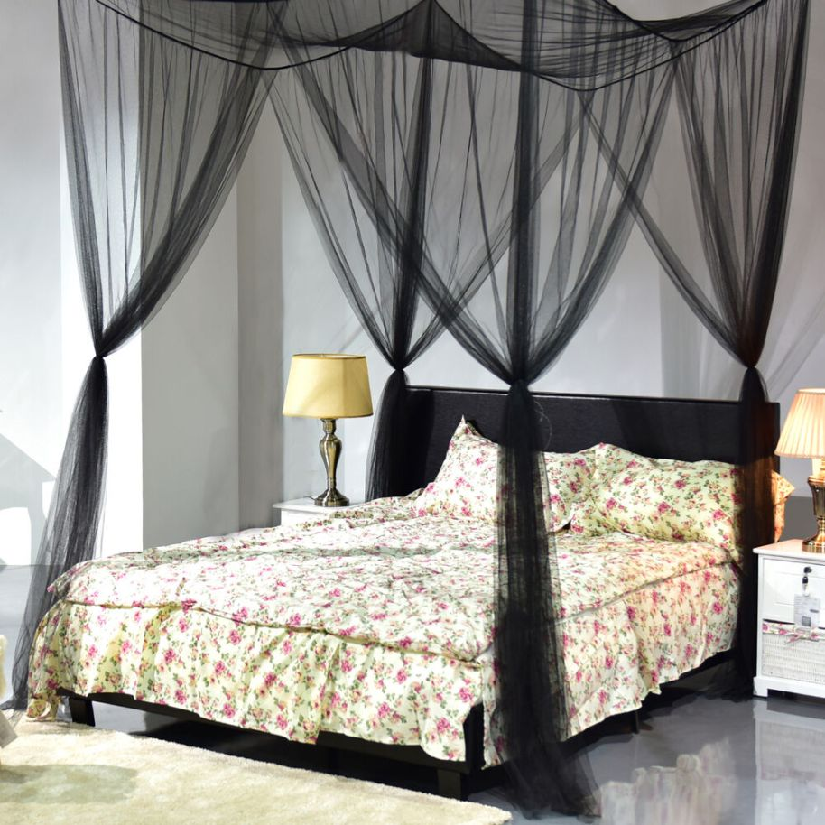 Elegant Four Corner Canopy Bed Netting Mosquito Net Full ...