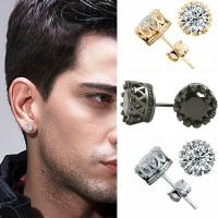 10mm Men Women Sterling Silver Post Stud Crown Cubic ...