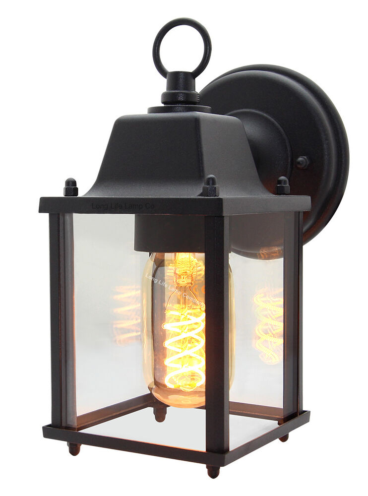 Vintage Outdoor Wall Light Black Metal Glass Lantern style