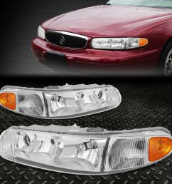 details about for 1997 2005 buick century chrome housing amber side bumper headlight lamp set [ 1000 x 1000 Pixel ]
