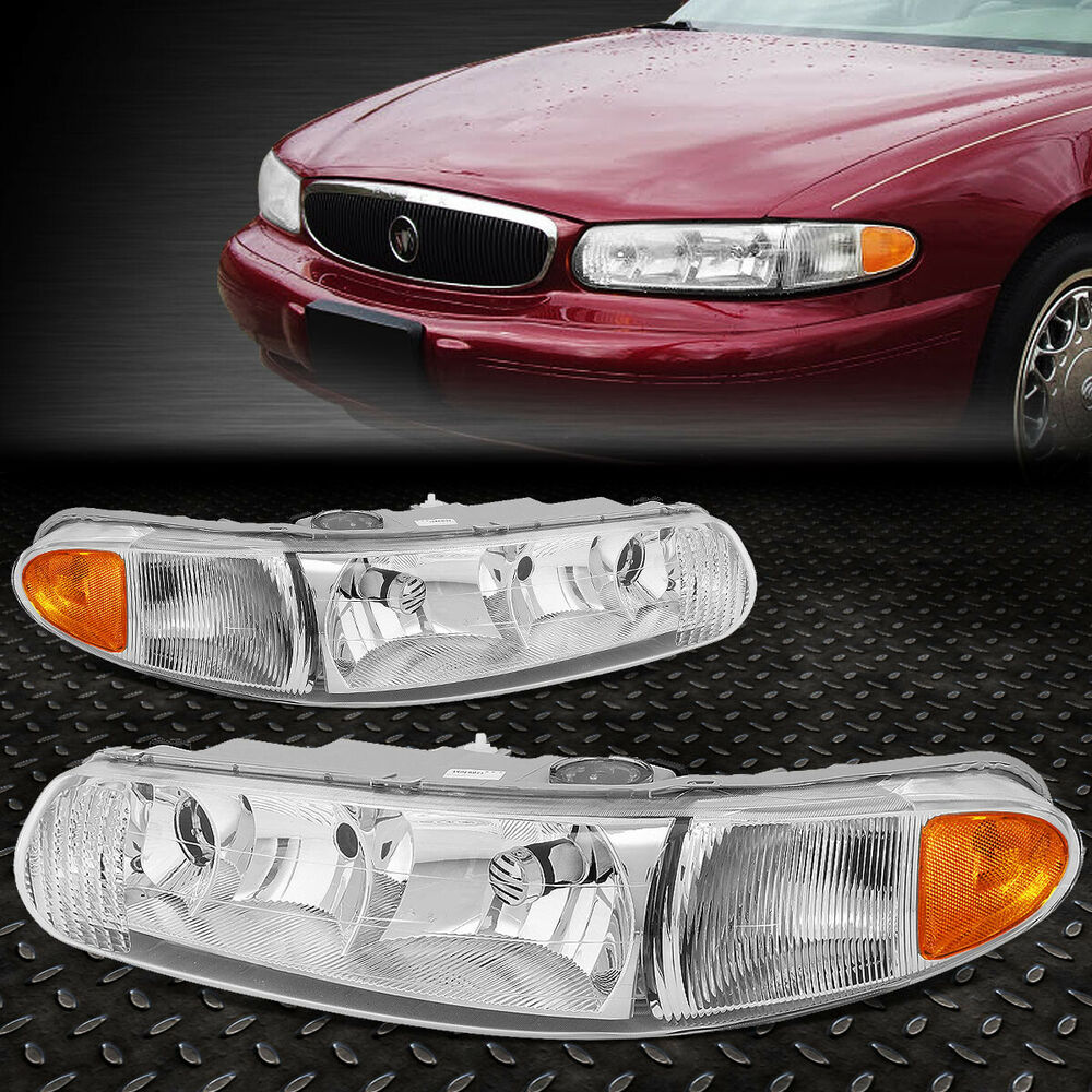hight resolution of details about for 1997 2005 buick century chrome housing amber side bumper headlight lamp set
