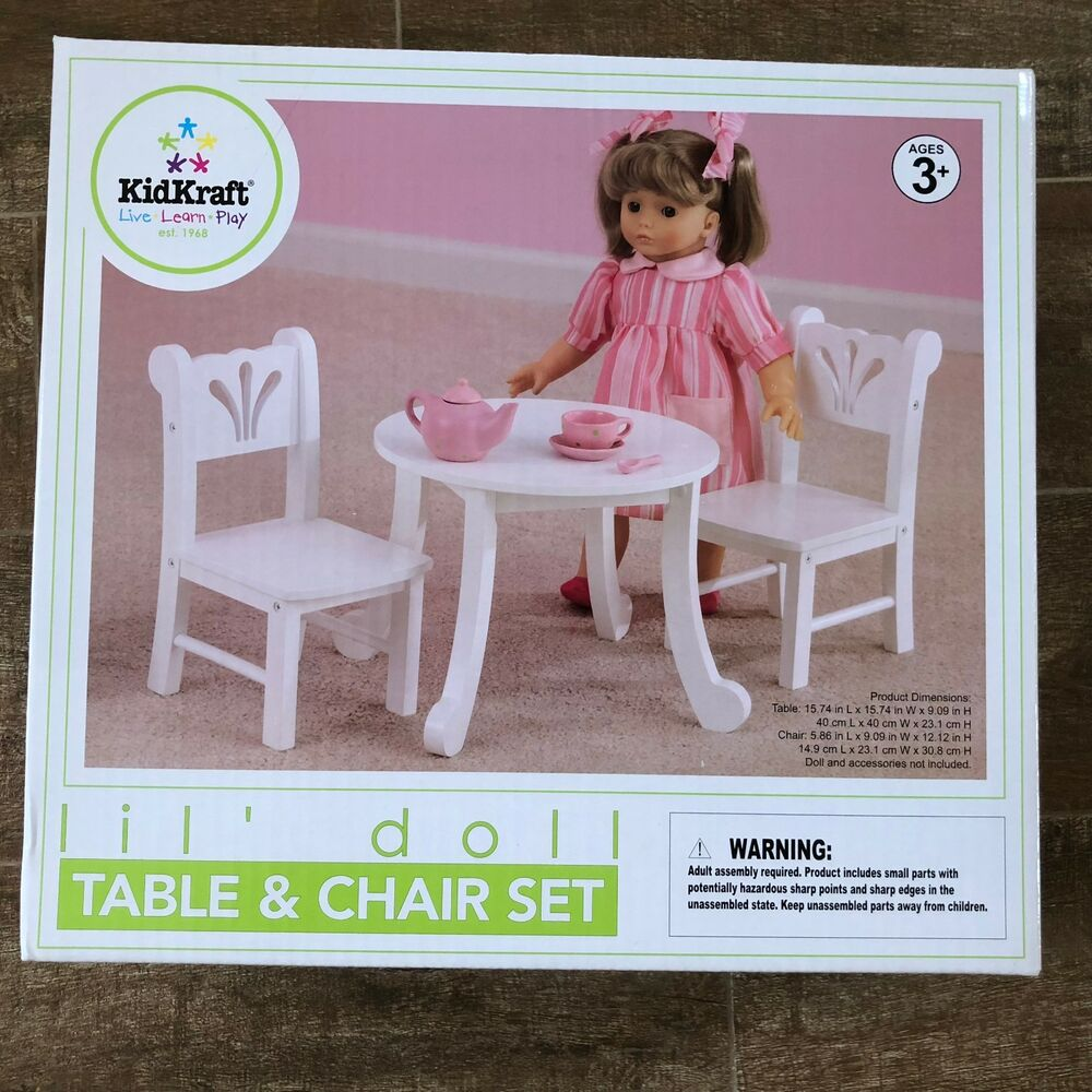 18 doll table and chairs herman miller ebay kidkraft lil toy chair set fits dolls 60133 details about american girl