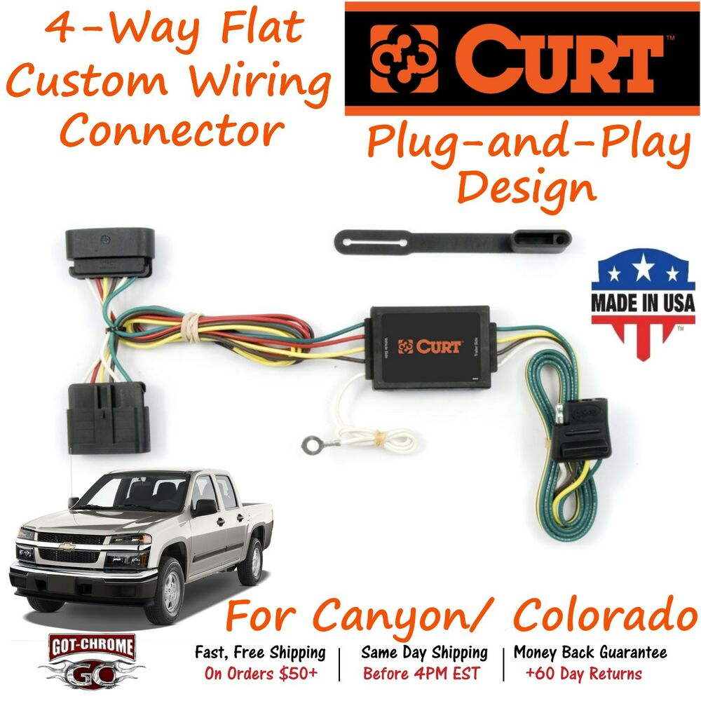 hight resolution of details about 55510 curt 4 way flat trailer wiring connector harness fits canyon colorado