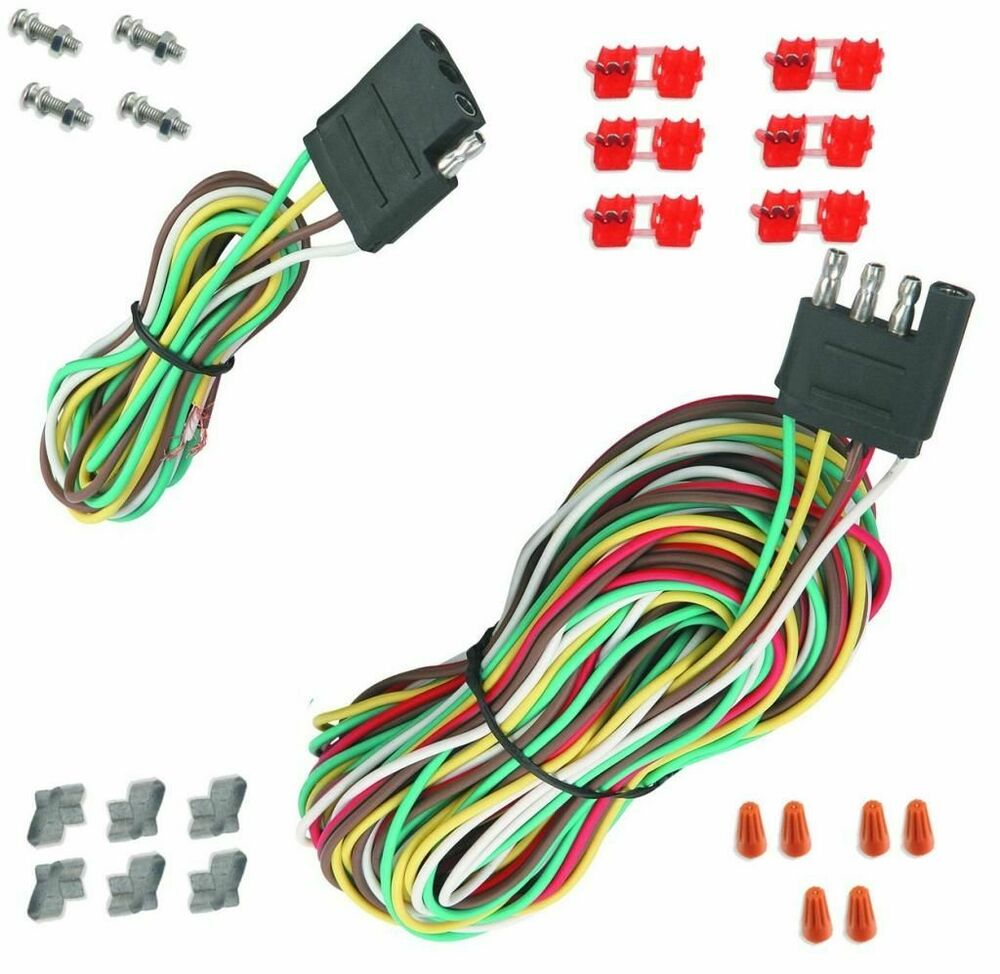 medium resolution of details about 25 4 way trailer wiring connection kit flat wire extension harness boat car rv