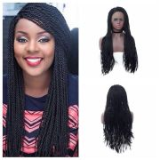 long synthetic lace front wig braided