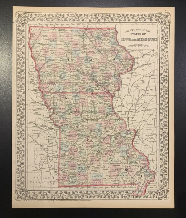 Mitchell quotCounty Map of the States of Iowa MOquot 1872 eBay