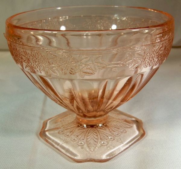 Jeannette Glass . Adam Pink Footed Sherbet Dish