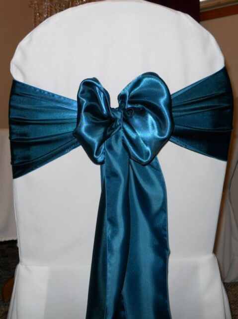 chair covers and bows ebay reclaimed wood 100 dark teal sain sashes 6