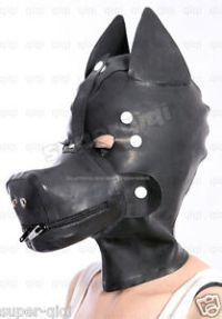 100% Latex Rubber .8mm Dog Mask Hood costume catsuit suit ...