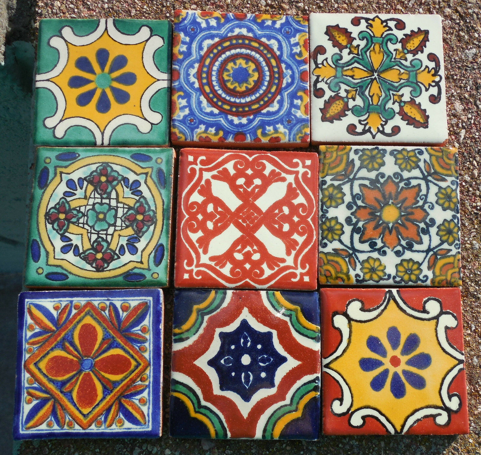 18MEXICAN TALAVERA POTTERY 2 tile Hand Painted Hand made