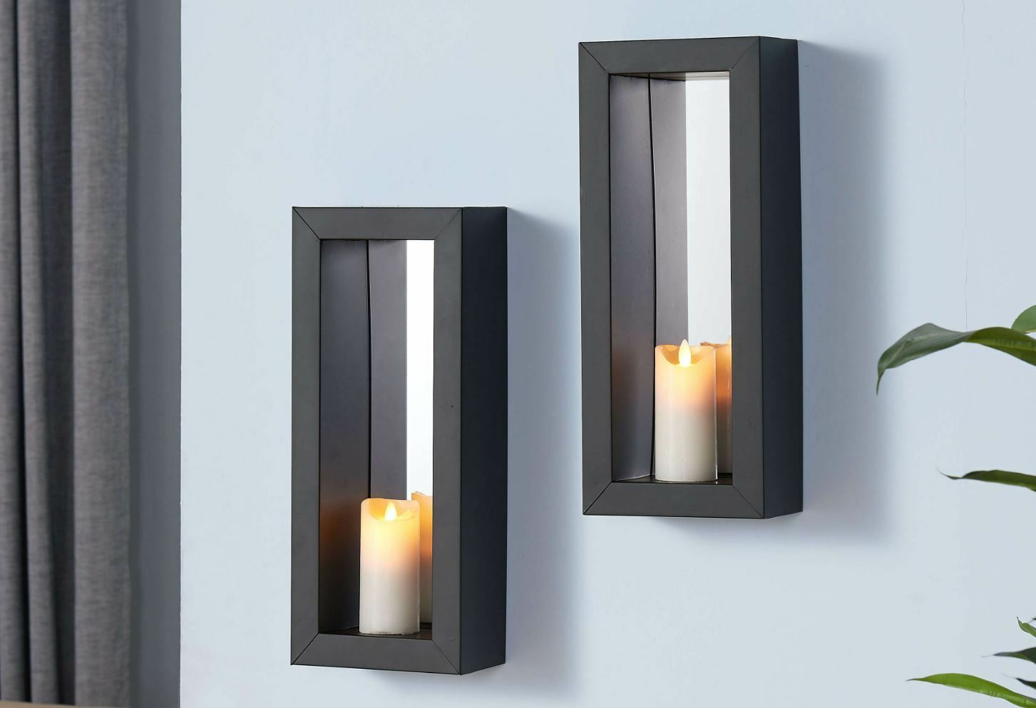 2 Mirror Candle Wall Sconce Holder Set Metal Pair Decor