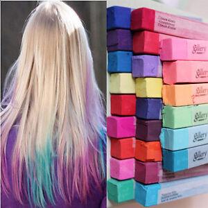 24p 12px hair chalk temporary hair colour dye salon kit soft pastel ebay