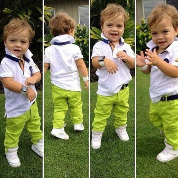 2pcs Toddler Baby Boys Dress White Shirt Green Pants Set Kids Clothes Outfits
