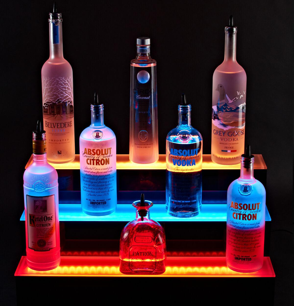 3 Step Tier 2 Ft 24 Quot Led Lighted Liquor Bottle Shelf Bar