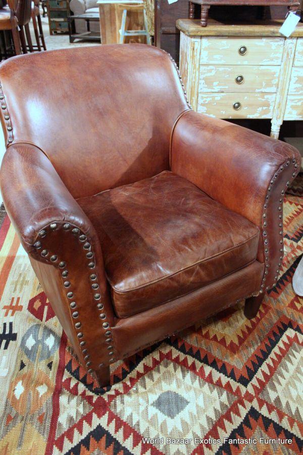 "34"" Wide Club Chair Vintage Brown Cigar Distressed Leather"
