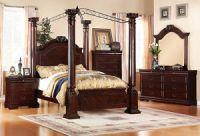 Bedroom Sets: 4Pc Queen Queen Cherry Walnut Canopy Wood ...