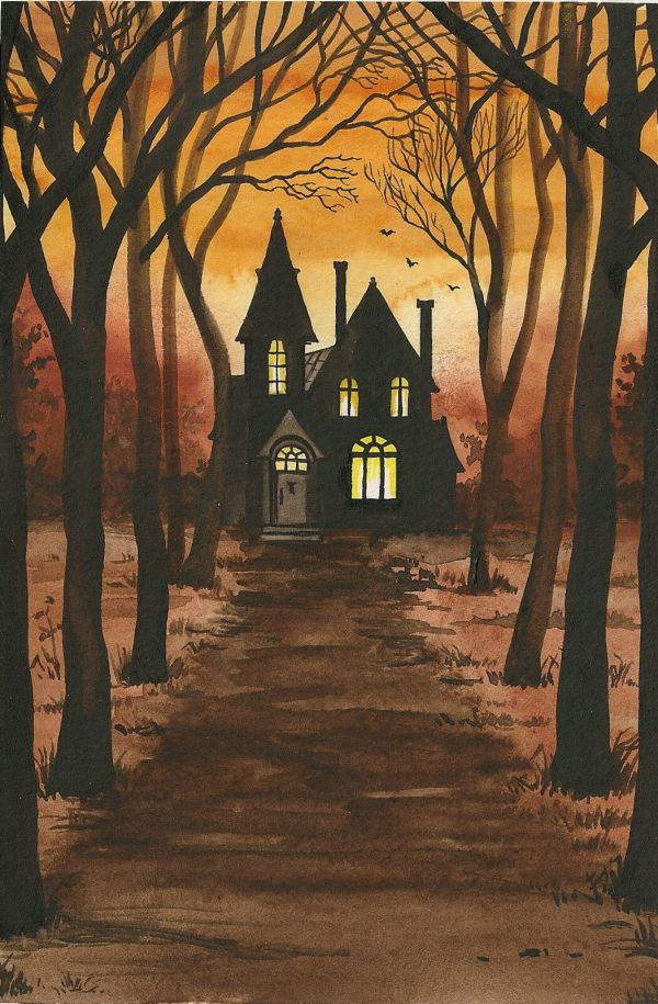 4x6 Print Of Halloween Painting Ryta Haunted House Vintage