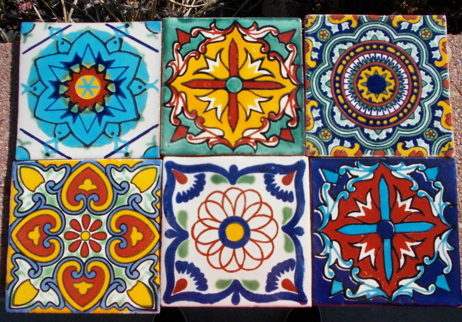 6MEXICAN TALAVERA POTTERY 4 tile Hand Painted Hand made  Venice Italy CD  eBay