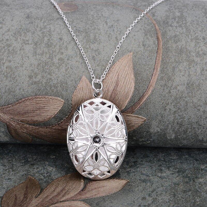 Damen Medaillon Silber Medallion Foto Anhnger Amulett