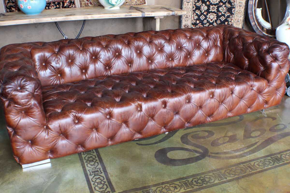 abbott vintage cigar tufted leather sofa throw pillow sets 98 quot long brown 3 seater
