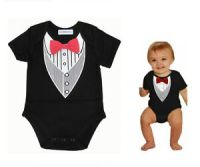 Baby Boy Black Tuxedo Suit Onesie,Cool & Casual Red Bow ...