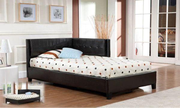 Black Tufted Design Leather Full Size Corner Upholstered Platform Bed