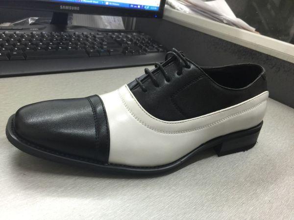 Brand Men' Oxford Faux Leather Shoes Black White Two
