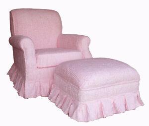 Chic Pink Stripe Chenille Upholstered Rocker Glider