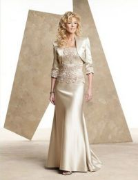 Champagne satin mother of the bride dress floor length ...