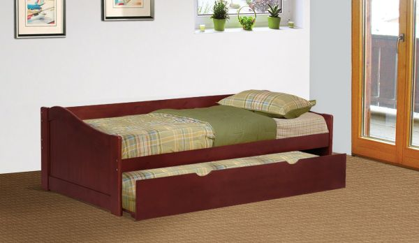 Cherry Finish Wood Twin Size Day Bed Daybed With Trundle