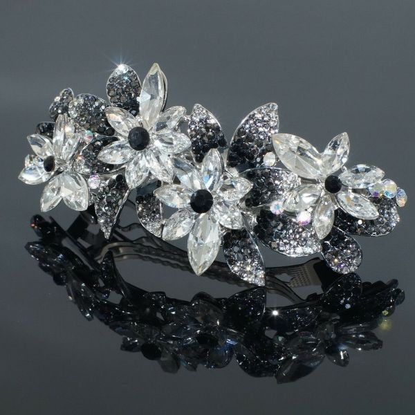 B39 Clear Crystal Black Rhinestone Flower Barrette Hair