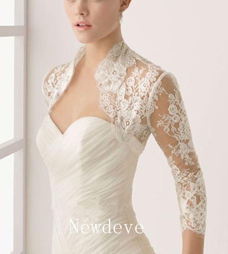 Lace Top 34 Sleeves Bridal Wedding Jacket White Ivory Bolero Plus Size Shrug  eBay