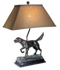 DOG TABLE LAMP HUNTING RUSTIC LODGE HUNTER LAMPS HEAVY